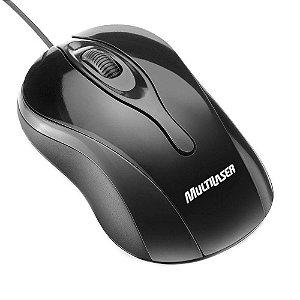 Mouse Óptico Multilaser MO141 Colors Black USB Preto