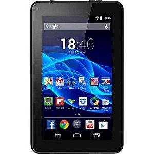 """Tablet Multilaser M7s Quad Core Preto Android 4.4 Kit Kat Dual Câmera Wi-Fi Tela Capacitiva 7"""" Memória 8gb - Nb184"""