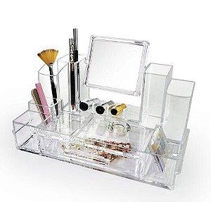 Porta Maquiagem de Acrilico com Espelho Organizador 25
