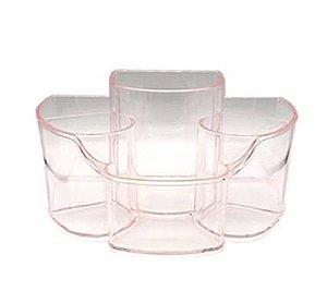 Porta Pincel ou Secador de Acrilico Organizador 32 / rosa transparente