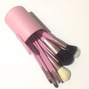 Kit 12 Pincéis Maquiagem com Estojo Rosa