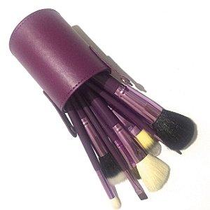 Kit 12 Pincéis Maquiagem com Estojo Roxo