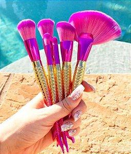 Kit 7 Pincéis De Maquiagem Sereia Pink Gold