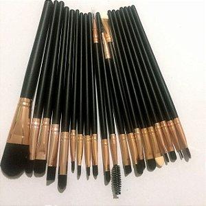 Kit De Pinceis Maquiagem Profissional Preto 20 Pcs