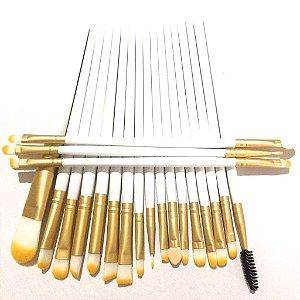 Kit Pincel Maquiagem Branco para Olhos -  20 peças