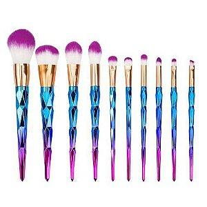 Kit De Pinceis Maquiagem Unicornio Azul e Rosa 10 Peças