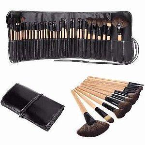 Kit Pincel Maquiagem Marfim com Preto 24 Peças