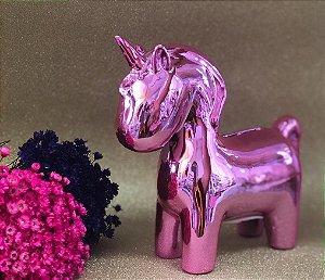 Enfeite Unicornio Rosa - Cofre de Cerâmica