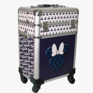 Maleta Maquiagem Disney Minnie Azul G com rodinhas