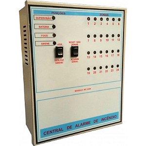 Central de Alarme de Incêndio 24 Setores 12V com Bateria