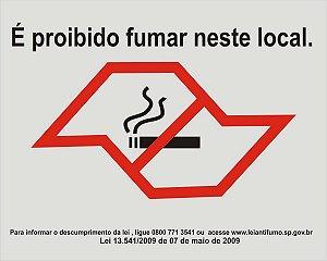 PLACA INDICATIVA PROIBIDO FUMAR