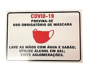 PLACA INDICATIVA - USO OBRIGATÓRIO DE MÁSCARA