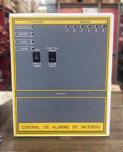 CENTRAL DE ALARME CONVENCIONAL 6 SETORES 24V + BATERIAS