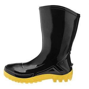 Bota de PVC Preta Solado amarelo Cano Médio com Forro Marluvas CA 42291