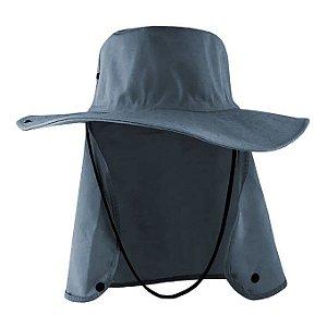 Chapéu Australiano Com Proteção De Pescoço Cinza escuro Liso Oxford
