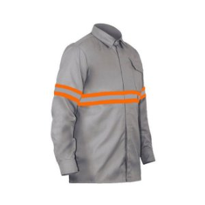 Camisa Eletricista Cinza 1 Bolso Faixa Lar/Prata 5cm Bh Seg CA 37238