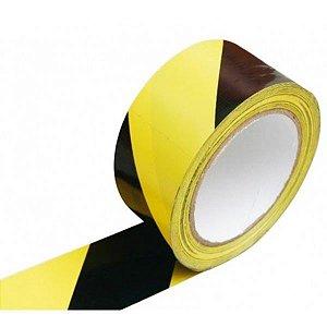 Fita De Demarcação Zebrada Preto/Amarelo 48mm X 30mts - Plastcor
