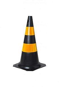 Cone Rigido 75cm Preto C/ Faixa Refletiva Kteli