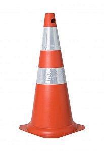 Cone Rigido 75cm Laranja C/ Faixa Refletiva