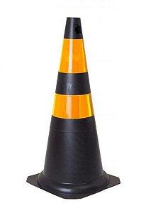 Cone Flexivel 75cm Preto C/ Faixa Refletiva