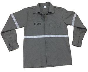 Camisa Eletricista Anti-chama Cinza 4 Bolsos com faixa refletiva