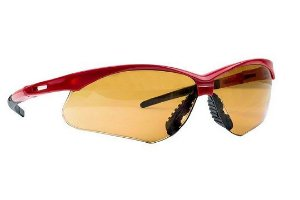 Oculos De Protecao Ss7 Ambar Haste Vermelha Anti Risco