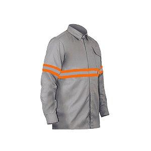 Camisa Eletricista Risco 2 Cinza 1 Bolso  Faixa Laranja e Prata 5cm NR 10