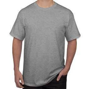 Camiseta de Malha PV com Gola Redonda Cinza