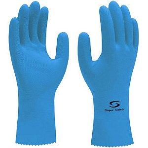 Luva de Látex Azul com Revestimento em Verniz Silver - Super Safety CA 33332