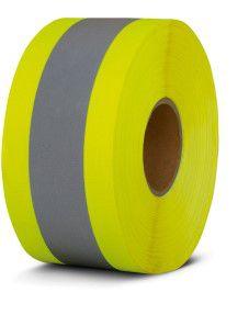 Fita Refletiva para Uniforme Combinada 100mm Amarela com Refletivo - Rolo 100 Metros