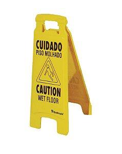 Placa Sinalização Cuidado Piso Molhado (Port/Ing) Bralimpia