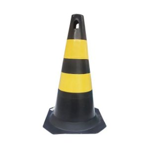 Cone Rígido Para Sinalização Preto E Amarelo  50cm Plastcor