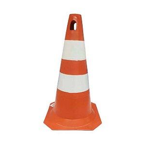 Cone Rígido Para Sinalização Laranja e Branco  50cm Plastcor