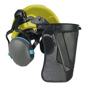 Capacete Para Operador De Motosserra Com Abafador De Ruído E Protetor Facial