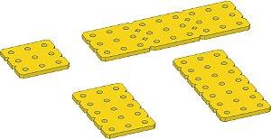 """Conjunto 4 placas 3 mm """"P"""" Termoplástico Amarelo."""
