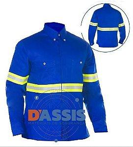 Camisa Antichama Azul com Refletivo - C.A 30409 - COMMANDERS