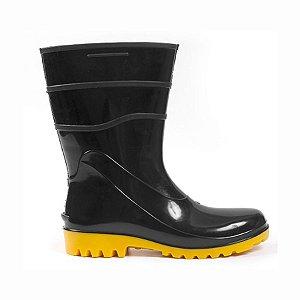 Bota de PVC Impermeável Preta Solado Amarelo - C.A 38200