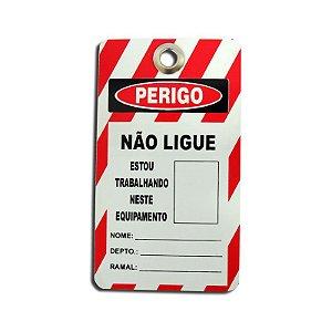 """Etiqueta de Segurança """"NÃO LIGUE"""" - 77mm x 146mm"""
