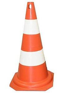 Cone de PVC, laranja e branco, 75cm