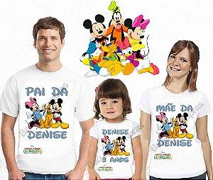 Kit 3 Camiseta Aniversário Pai Mãe Filho A Casa Do Mickey
