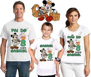 Kit 3 Camiseta Aniversário Festa Mickey Safari Personalizada