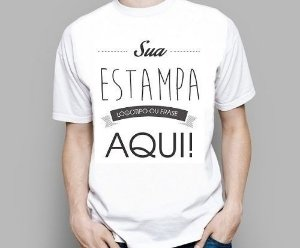 Camiseta Personalizada Sua Marca Empresa Herói Ou Imagem