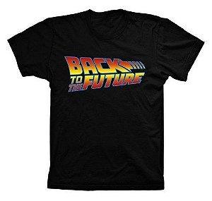 Camiseta Preta 100% Algodão De Volta Para O Futuro Delorean