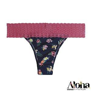 Mini Coleção Aloha : Calcinha Rosa de Fluity Arara Viva / Rosa Astromelia