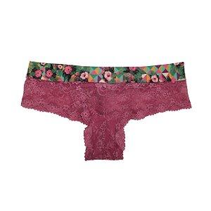 Mini Coleção Aloha : Calcinha Thai Renda Hibisco Tropical  / Rosa Astromelia