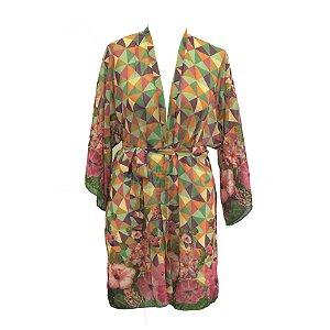 Mini coleção Aloha : Kimono Musseline Hibisco Tropical