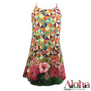Mini Coleção Aloha : Vestido Potti Musseline Transparente  Hibisco Tropical