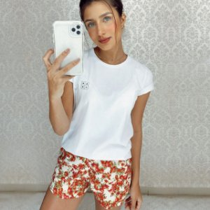 Conjunto Homewear - Tshirt Algodão Branco + Short Viscose De Romã