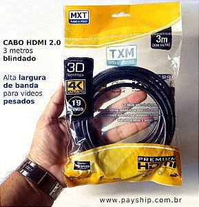 Cabo HDMI 3m 2.0 resolução 4k Ultra HD MXT dourado entrega expressa Manaus