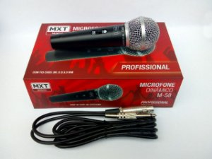 kit microfone M58 e cabo 5 metros profissional MXT com estoque em Manaus